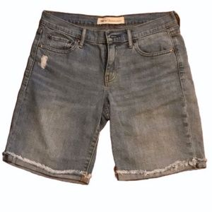 Cuffed Raw Hem Bermuda Jean Shorts by Gap, size 27